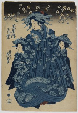 Eisen Keisai (Japanese, 1790-1848). Tamaya Nishi, Hana-murasaki, ca. 1830. Woodblock print, 15 1/8 x 10 1/4 in. (38.4 x 26 cm). Brooklyn Museum, Anonymous gift, 76.151.20