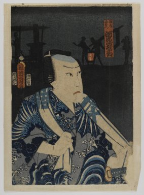 Kunichika (Japanese, 1835- ca.1905). Actor (possibly left panel of a polytych), 1800-1925. Woodblock print, 14 1/4 x 9 5/8 in. (36.2 x 24.4 cm). Brooklyn Museum, Anonymous gift, 76.151.22