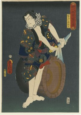 "Utagawa Toyokuni III  (Kunisada) (Japanese, 1786-1864). The Actor Kawarazaki Gonjuro I (1838-1903) as Osarabakuzo Denji, from the series ""Thieves in Designs of the Time,"" 1859. Woodblock print, 14 5/8 x 10 1/16 in. (37.1 x 25.6 cm). Brooklyn Museum, Anonymous gift, 76.151.27"