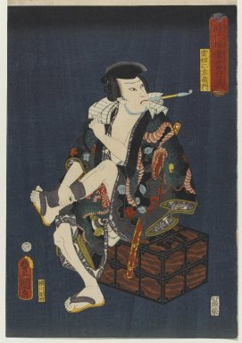 "Utagawa Toyokuni III  (Kunisada) (Japanese, 1786-1864). The Actor Kataoka Nizaemon VIII (1810-1863) as Kumokiri Nizaemon, from the series ""Thieves in Designs of the Time,"" 1859. Woodblock print, 14 1/2 x 9 7/8 in. (36.8 x 25.1 cm). Brooklyn Museum, Anonymous gift, 76.151.28"