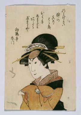 Utagawa Toyokuni III  (Kunisada) (Japanese, 1786-1864). Actor in Female Role, ca. 1798. Woodblock print, 6 7/8 x 4 5/8 in. (17.5 x 11.7 cm). Brooklyn Museum, Anonymous gift, 76.151.29
