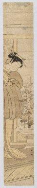 Masunobu (Japanese). Hashira-e, ca. 1770. Woodblock print, 24 3/4 x 4 3/4 in. (62.9 x 12.1 cm). Brooklyn Museum, Anonymous gift, 76.151.31