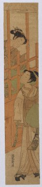Isoda Koryusai (Japanese, ca. 1766-1788). Courtesan Standing at the Bars of a Window Looking Out at a Youth in Komuso Attire, ca. 1770. Woodblock Print, 26 1/8 x 4 15/16 in. (66.3 x 12.6 cm). Brooklyn Museum, Anonymous gift, 76.151.34