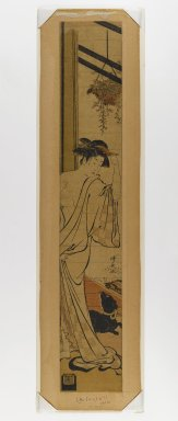 Torii Kiyonaga (Japanese, 1752-1815). Hashira-e, 1740-1830. Woodblock Print, 27 3/8 x 4 5/8 in. (69.5 x 11.7 cm). Brooklyn Museum, Anonymous gift, 76.151.35
