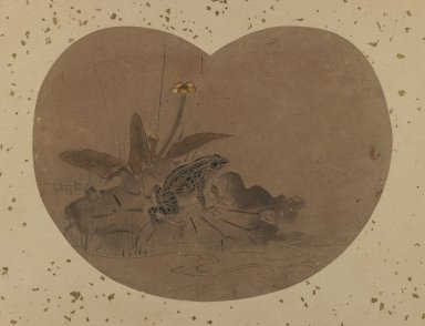 Fan Painting of a Frog. Ink and color on paper, Widest Point: 12 11/16 in. (32.2 cm). Brooklyn Museum, Anonymous gift, 76.151.3. Creative Commons-BY