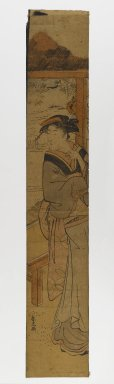 Katsukawa Shunko (Japanese, 1743-1812). Woman Standing Beside a Fusuma, 1720-1830. Woodblock print, 27 x 4 5/8 in. (68.6 x 11.7 cm). Brooklyn Museum, Anonymous gift, 76.151.41
