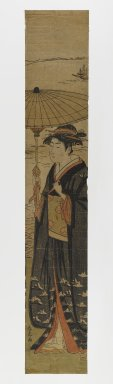 Katsukawa Shunko (Japanese, 1743-1812). Woman with Umbrella, 1730-1830. Woodblock print, 26 1/2 x 4 1/2 in. (67.3 x 11.4 cm). Brooklyn Museum, Anonymous gift, 76.151.42