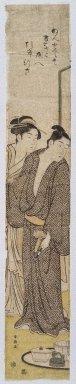 Katsukawa Shunsho (Japanese, 1726-1793). Pair of Lovers, 1780s. Woodblock print, 26 9/16 x 4 5/8 in. (67.4 x 11.7 cm). Brooklyn Museum, Anonymous gift, 76.151.44