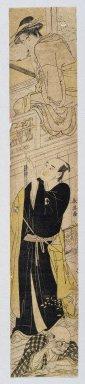"""Katsukawa Shunei (Japanese, 1762-1819). Parody of Kabuki Drama """"Chushingura"""", Act VII, ca. 1780-1790. Woodblock print, 24 3/8 x 4 1/2 (61.9 x 11.4 cm). Brooklyn Museum, Anonymous gift, 76.151.46"""