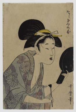 Kitagawa Utamaro (Japanese, 1753-1806). Page from an Album or Illustrated Book, 1735-1806. Woodblock print, 7 x 4 3/4 in. (17.8 x 12.1 cm). Brooklyn Museum, Anonymous gift, 76.151.5