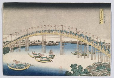 Katsushika Hokusai (Japanese, 1760-1849). Temma Bridge, Osaka, 1827-1830. Woodblock print, 10 15/16 x 15 3/16 in. (27.8 x 38.6 cm). Brooklyn Museum, Anonymous gift, 76.151.6