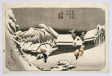 Utagawa Hiroshige (Ando) (Japanese, 1797-1858). Kambara, from Fifty-three Stations on the Tokaido Highway (Tokaido Goju-san Tsugi no Uchi), ca. 1834 or later. Woodblock print, Sheet: 9 7/8 x 14 3/4 in. (25.1 x 37.5 cm). Brooklyn Museum, Anonymous gift, 76.151.8