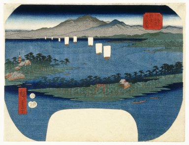 Utagawa Hiroshige (Ando) (Japanese, 1797-1858). Ama No Hashidate in Tango Province from the Series Three Views of Japan (Nihon Sankei), Design ca. 1855; later impression. Woodblock print, Other (Width): 11 1/2 in. (29.2 cm). Brooklyn Museum, Anonymous gift, 76.151.9