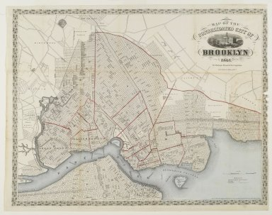 Map of the Consolidated City of Brooklyn, 1861. Engraving with watercolor Brooklyn Museum, Gift of Barbara Head Millstein, 76.160.1
