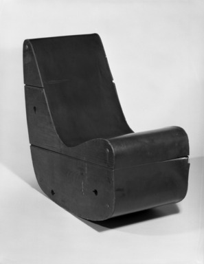 Frederick J Kiesler (American, born Vienna, 1890-1965). Rocking Chair, ca. 1942. Plywood, linoleum, 29 1/8 x 30 1/2 x 15 5/8 in.  (74.0 x 77.5 x 39.7 cm). Brooklyn Museum, Gift of Ruth Abrams, 76.169. Creative Commons-BY