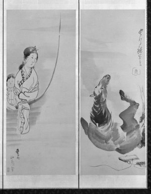 Nagasawa Rosetsu (Japanese, 1754-1799). Screen of Assorted Subjects, 18th century. Six-panel screen, ink and light color on paper, Overall, Two Outer Panels: 69 1/2 x 24 3/4 in. (176.5 x 62.9 cm). Brooklyn Museum, Gift of Dr. and Mrs. John Fleming, 76.177.1. Creative Commons-BY