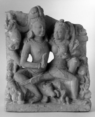 Siva and Parvati, 10th-11th century. Sandstone, 20 x 15 3/4 x 5 in. (50.8 x 40 x 12.7 cm). Brooklyn Museum, Gift of Emily Manheim Goldman, 76.178.3. Creative Commons-BY