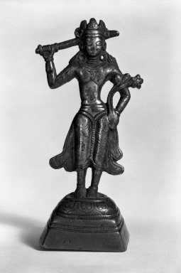 Bodhisattva Manjusri, 11th-12th century. Gilt bronze, H: 5 x 1 7/8 x 1 7/16 in. (12.7 x 4.7 x 3.6 cm). Brooklyn Museum, Gift of Arnold Leiberman, 76.181. Creative Commons-BY
