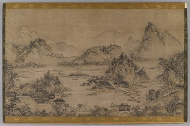 Landscape of West Lake, early 17th century. Hanging scroll, ink and color on paper, now mounted on board, Image: 15 1/4 x 25 3/8 in. (38.7 x 64.5 cm). Brooklyn Museum, Gift of Stanley J. Love, 76.182.2