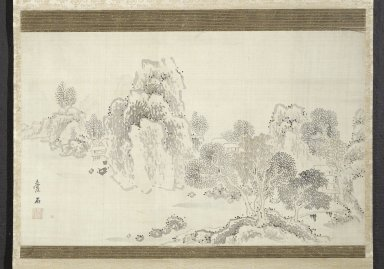 Aiseki (Japanese, early 19th century). Landscape: Autumn Scene, Early 19th Century. Ink and color on silk, Image: 12 5/8 x 20 1/8 in. (32.1 x 51.1 cm). Brooklyn Museum, Gift of Amy and Robert L. Poster, 76.185.2