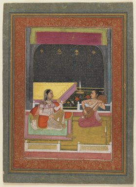 Indian. An Evening's Music, late 18th century. Opaque watercolor and gold on paper, sheet: 12 3/8 x 8 7/8 in.  (31.4 x 22.5 cm). Brooklyn Museum, Gift of Mr. and Mrs. Alfred Siesel, 76.187