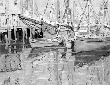 Jane Peterson (American, 1876-1965). Fishing Boats, Gloucester, ca. 1915-1920. Oil on canvas, 24 x 30 in. (60.9 x 76.2 cm). Brooklyn Museum, Gift of Martin Horwitz, 76.191