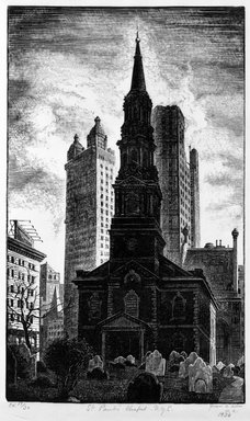 Grace Arnold Albee (American, 1890-1995). St. Paul's Chapel, N.Y.C., 1936. Wood engraving on wove paper, Image: 8 3/4 x 5 1/4 in. (22.2 x 13.3 cm). Brooklyn Museum, Gift of the artist, 76.198.16. © Estate of Grace Arnold Albee