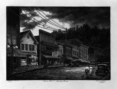 "Grace Arnold Albee (American, 1890-1995). ""Main Street"", Hawley, Penna., 1937. Wood engraving on paper, Image: 4 7/8 x 6 3/4 in. (12.4 x 17.1 cm). Brooklyn Museum, Gift of the artist, 76.198.17. © Estate of Grace Arnold Albee"