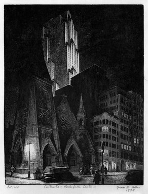 Grace Arnold Albee (American, 1890-1995). Contrast-Rockefeller Center, 1934. Wood engraving on paper, Sheet: 9 5/16 x 7 5/16 in. (23.7 x 18.6 cm). Brooklyn Museum, Gift of the artist, 76.198.85. © Estate of Grace Arnold Albee