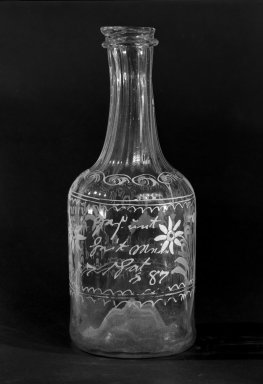 Bottle, Possibly 1787 (because of 87 on side of bottle). Glass, 7 7/8 in. (20 cm). Brooklyn Museum, The C. Helme and Alice B. Strater Collection, Gift of C. Helme Strater, Jr., John B. Strater, and Margaret S. Robinson, 76.34.16. Creative Commons-BY