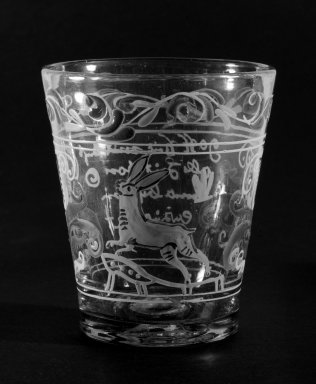 Beaker, Possibly 18th century. Glass, 3 7/8 x 3 3/8 in. (9.8 x 8.6 cm). Brooklyn Museum, The C. Helme and Alice B. Strater Collection, Gift of C. Helme Strater, Jr., John B. Strater, and Margaret S. Robinson, 76.34.19. Creative Commons-BY