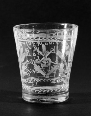 Beaker, ca. 1725. Glass, 3 1/8 x 2 in. (7.9 x 5.1 cm). Brooklyn Museum, The C. Helme and Alice B. Strater Collection, Gift of C. Helme Strater, Jr., John B. Strater, and Margaret S. Robinson, 76.34.20. Creative Commons-BY