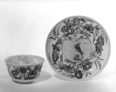 Cup and Saucer, poss 18th century. Glass, 1 5/16 x 2 3/4 in. (3.3 x 7 cm). Brooklyn Museum, The C. Helme and Alice B. Strater Collection, Gift of C. Helme Strater, Jr., John B. Strater, and Margaret S. Robinson, 76.34.7a-b. Creative Commons-BY