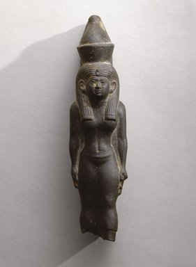 Statuette of the Goddess Mut, ca. 664-525 B.C.E. Schist, 6 3/8 x 1 1/2 x 1 7/8 in. (16.2 x 3.8 x 4.8 cm). Brooklyn Museum, Charles Edwin Wilbour Fund, 76.38. Creative Commons-BY