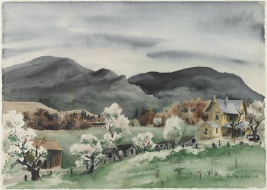Adolf Arthur Dehn (American, 1895-1968). Landscape with Farm Buildings, 1938. Watercolor with graphite underdrawing on off-white, thick, smooth-textured wove paper, Sheet: 16 x 22 3/8 in. (40.6 x 56.8 cm). Brooklyn Museum, Gift of Leon Pomerance, 76.52.1. © Estate of Adolf Arthur Dehn