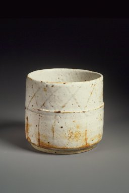 Kitaoji Rosanjin (Japanese, 1883-1959). Cylindrical Vessel, ca. 1955. Stoneware, E-Shino ware, 3 3/4 x 4 1/8 in. (9.5 x 10.5 cm). Brooklyn Museum, Gift of Dr. Hugo Munsterberg, 76.68. Creative Commons-BY