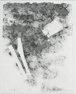 "Clinton Hill (American, 1922-2003). Bassett Road, 1976. Handmade paper drawing (The color is dyes cotton pulp - the work is completely made in the process of paper making - no additive marks or color added to the surface"" Brooklyn Museum, Gift of the artist, 76.70. © Estate of Clinton Hill"