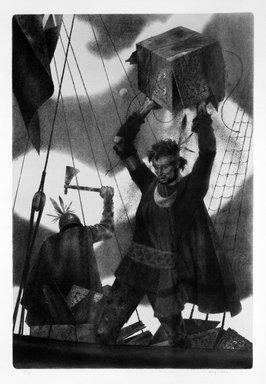 Joseph Hirsch (American, 1910-1981). The Boston Tea Party, 1975. Lithograph, Sheet: 35 x 23 in. (88.9 x 58.4 cm). Brooklyn Museum, Gift of Lorillard, 76.77.5. © Estate of Joseph Hirsch