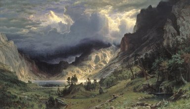 Albert Bierstadt (American, born Germany, 1830-1902). A Storm in the Rocky Mountains, Mt. Rosalie, 1866. Oil on canvas, 83 x 142 1/4in. (210.8 x 361.3cm). Brooklyn Museum, Dick S. Ramsay Fund, Healy Purchase Fund B, Frank L. Babbott Fund, A. Augustus Healy Fund, Ella C. Woodward Memorial Fund, Carll H. de Silver Fund, Charles Stewart Smith Memorial Fund, Caroline A.L. Pratt Fund, Frederick Loeser Fund, Augustus Graham School of Design Fund, Museum Collection Fund, Special Subscription, and John B. Woodward Memorial Fund; Purchased with funds given by Daniel M. Kelly and Charles Simon; Bequest of Mrs. William T. Brewster, Gift of Mrs. W. Woodward Phelps in memory of her mother and father, Ella M. and John C. Southwick, Gift of Seymour Barnard, Bequest of Laura L. Barnes, Gift of J.A.H. Bell, and Bequest of Mark Finley, by exchange