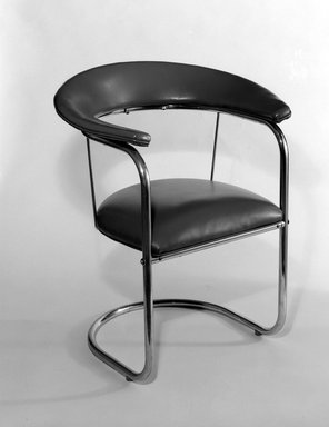 Russel Wright (American, 1904-1976). Armchair, ca. 1934. Chromium, plastic (Naugahyde), 76.99.1: 32 x 27 x 18 1/2 in. (81.3 x 68.6 x 47 cm). Brooklyn Museum, Gift of the artist, 76.99.1. Creative Commons-BY