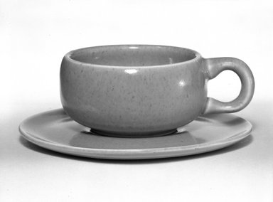 Russel Wright (American, 1904-1976). Cup and Saucer, American Modern Pattern, Designed 1937; Manufactured ca. 1938. Glazed earthernware, 1 3/8 in. (3.5 cm) cup. Brooklyn Museum, Gift of Russel Wright, 76.99.22a-b. Creative Commons-BY