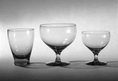 Russel Wright (American, 1904-1976). Drinking Glass, ca. 1940. Transparent glass, 4 1/8 x 3 15/16 in. (10.5 x 10 cm). Brooklyn Museum, Gift of Russel Wright, 76.99.9. Creative Commons-BY