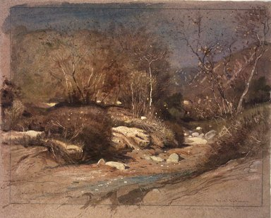 Samuel Colman (American, 1832-1920). Late November in a Santa Barbara Cañon, California, 1888. Transparent and opaque watercolor with touches of pastel on rose-tinted, moderately thick, moderated textured wove paper, 12 x 15 in. (30.5 x 38.1 cm). Brooklyn Museum, Dick S. Ramsay Fund, 77.102.2