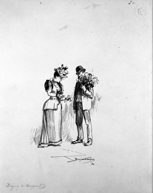 "Benjamin Osro Eggleston (American, 1867-1937). ""Buying a Bouquet,"" 1894. Pen and ink on paper, sheet: 9 3/8 x 7 1/2 in. (23.8 x 19.1 cm). Brooklyn Museum, Gift of Dr. Clark S. Marlor, 77.109.6"