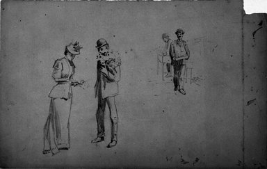 Benjamin Osro Eggleston (American, 1867-1937). [Untitled] (Preliminary sketch for 'Buying a Bouquet'), ca. 1894. Graphite on paper, sheet: 7 1/2 x 11 15/16 in. (19.1 x 30.3 cm). Brooklyn Museum, Gift of Dr. Clark S. Marlor, 77.109.7