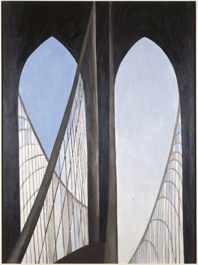 Georgia O'Keeffe (American, 1887-1986). Brooklyn Bridge, 1949. Oil on masonite, 47 15/16 x 35 7/8in. (121.8 x 91.1cm). Brooklyn Museum, Bequest of Mary Childs Draper, 77.11