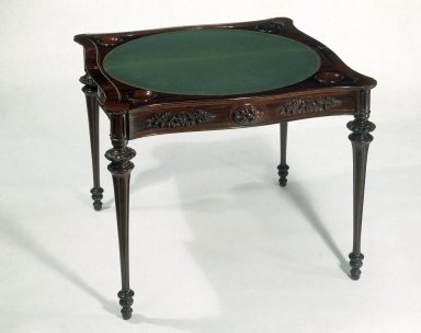 Alexander Roux (American, born France, 1813-1886 (active New York, 1836-1880)). Card Table, ca. 1850-1857. Rosewood, birch, 35 5/8 x 35 1/4 in. (90.5 x 89.5 cm) closed. Brooklyn Museum, H. Randolph Lever Fund, 77.127. Creative Commons-BY