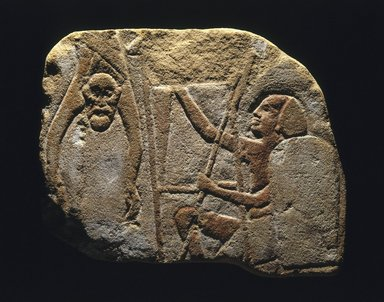 Relief Representation of a Battle Scene, ca. 1336-1327 B.C.E. Sandstone, painted, 8 11/16 x 10 1/4 x 11/16 in. (22 x 26 x 1.8 cm). Brooklyn Museum, Charles Edwin Wilbour Fund, 77.130. Creative Commons-BY