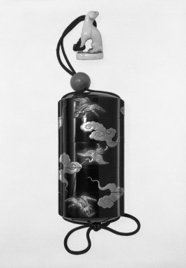 Inro with Ojime and Netsuke, 18th century. Lacquer, 4 3/16 x 2 3/16 in. (10.6 x 5.6 cm). Brooklyn Museum, Gift of Stanley J. Love, 77.135.2. Creative Commons-BY