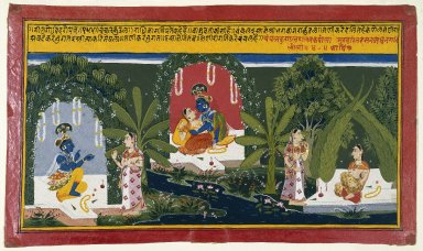 Indian. Quivering Earrings, Page from a Gita Govinda Series, 1714. Opaque watercolor and gold on paper, sheet: 10 x 17 in.  (25.4 x 43.2 cm). Brooklyn Museum, Gift of Cynthia Hazen Polsky, 77.138